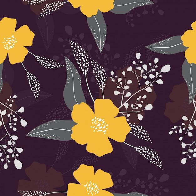 Fondo de patrones florales tropicales sin fisuras Vector Premium