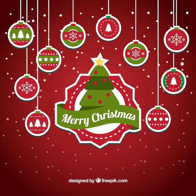7e7837cc234 Fondo de pegatina y bolas de navidad colgando