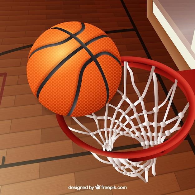 Fondo de pelota de baloncesto en una canasta vector gratuito