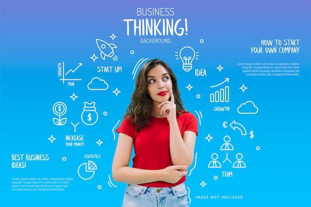 Fondo de pensamiento empresarial vector gratuito