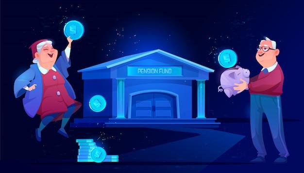 Fondo de pensiones y ahorro bancario. seguridad de los abuelos vector gratuito