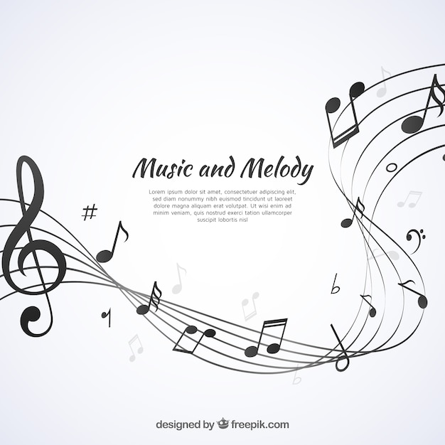 Fondo de pentagrama abstractos con notas musicales Vector Premium