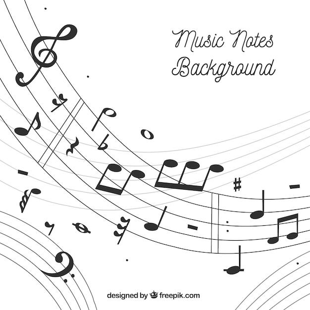 Fondo De Pentagrama Y Notas Musicales Descargar Vectores Gratis
