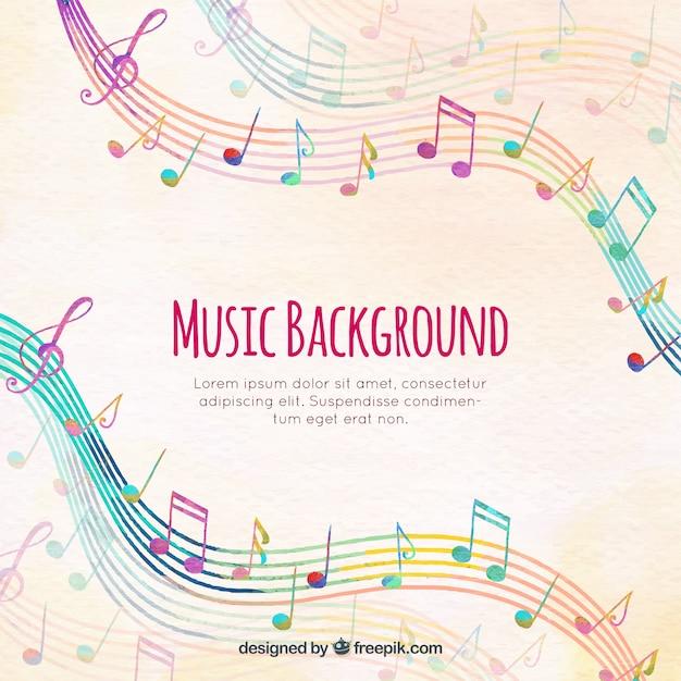 Fondo De Pentagramas De Colores Con Notas Musicales Descargar