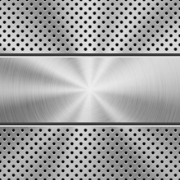 Fondo perforado de tecnología con textura de metal Vector Premium