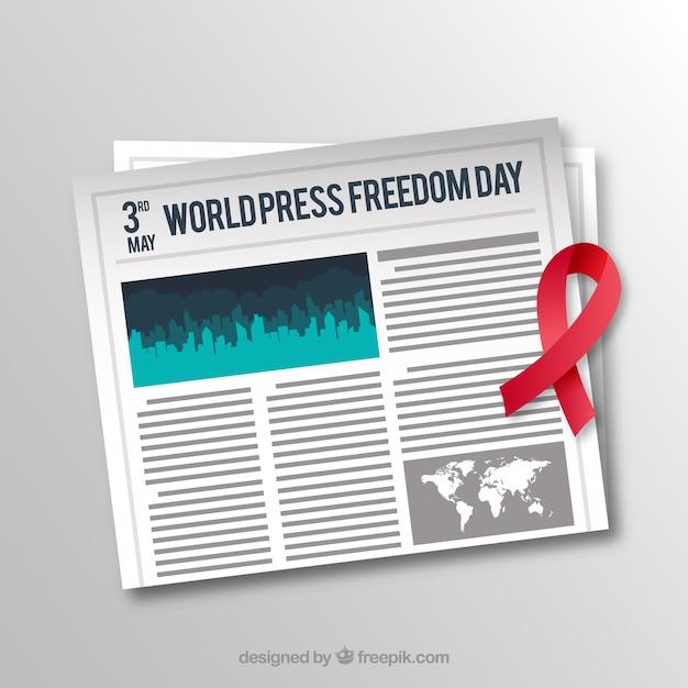 Fondo de periódico con cinta roja vector gratuito