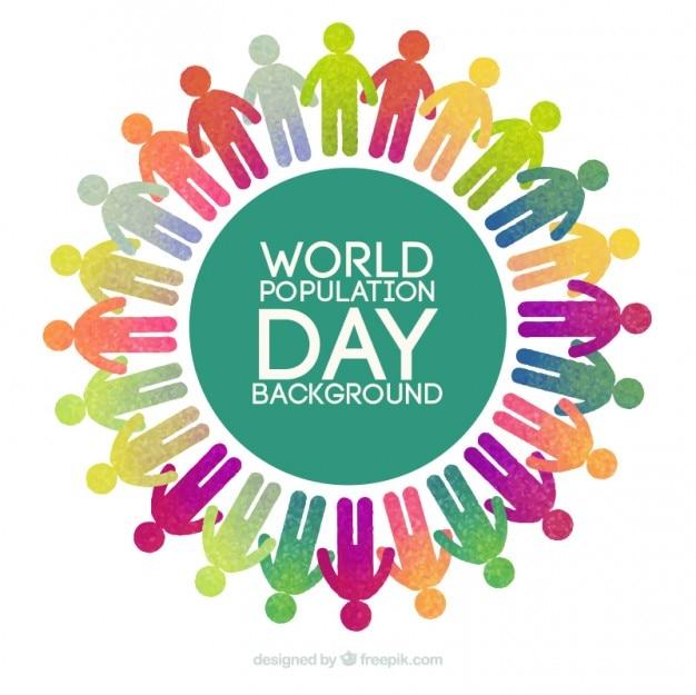 Fondo de pictogramas coloridos alrededor del mundo del día de la población vector gratuito