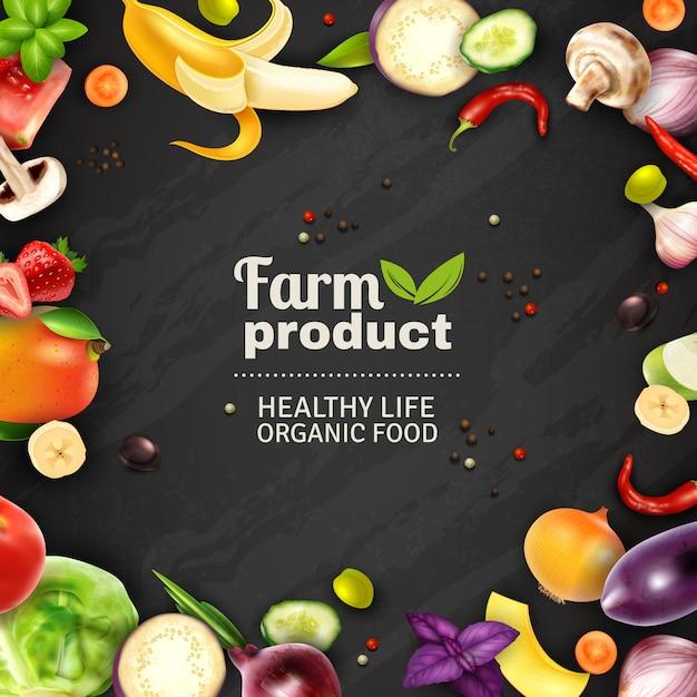 Fondo de pizarra de frutas y verduras vector gratuito