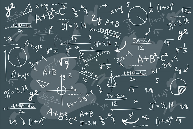 Fondo de pizarra de matemáticas Vector Premium