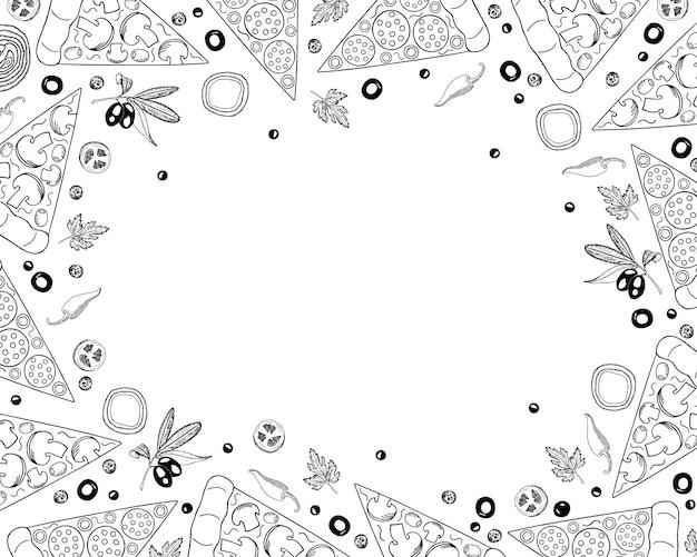 Fondo de pizza en estilo doodle. pizza y plantilla de diseño de menú de ingredientes, vista superior. Vector Premium