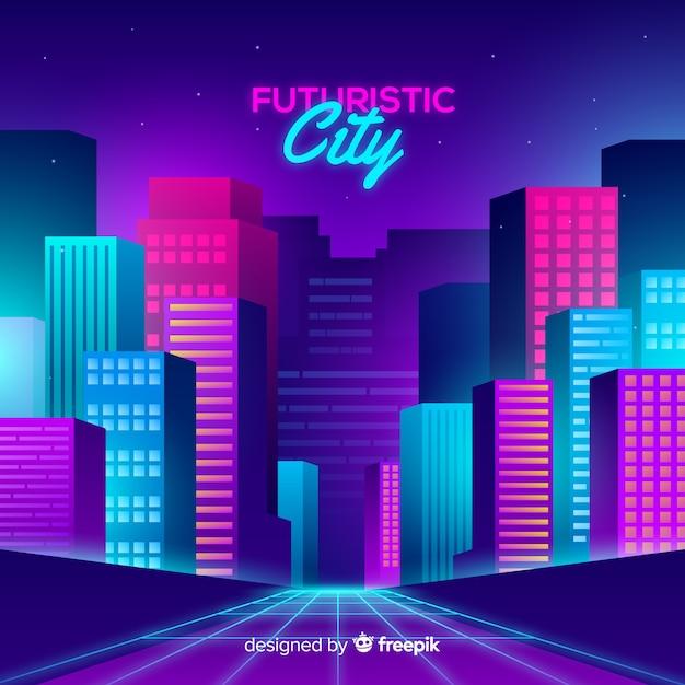 Fondo plano ciudad futurista vector gratuito