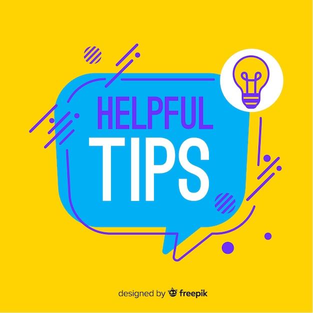 Fondo plano colorido consejos útiles vector gratuito