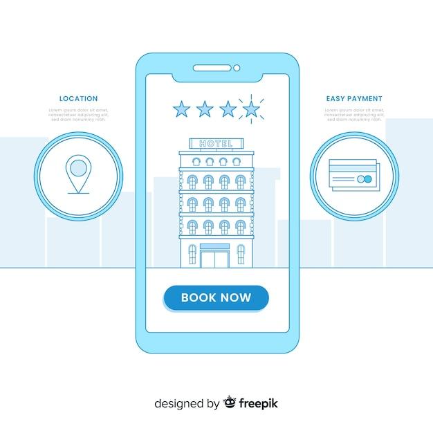 Fondo plano concepto reserva hotel vector gratuito