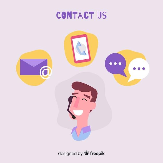 Fondo plano contacta con nosotros vector gratuito
