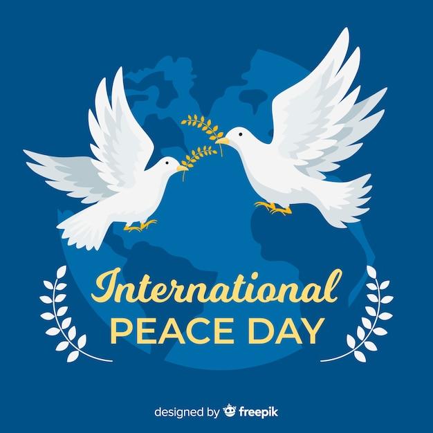 Fondo plano del día de la paz con paloma vector gratuito