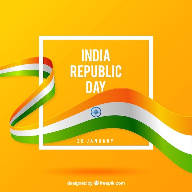Fondo plano del día de la república de india vector gratuito