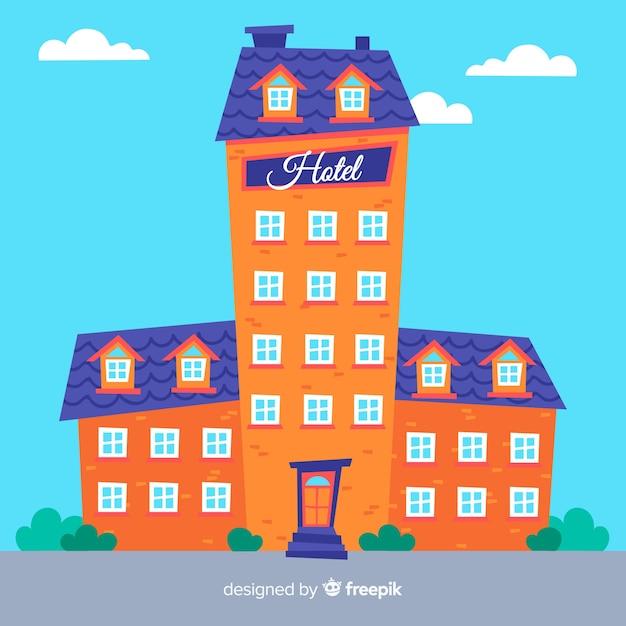 Fondo plano edificio hotel vector gratuito