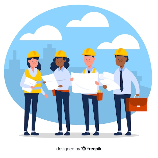 Fondo plano equipo de ingenieros Vector Premium