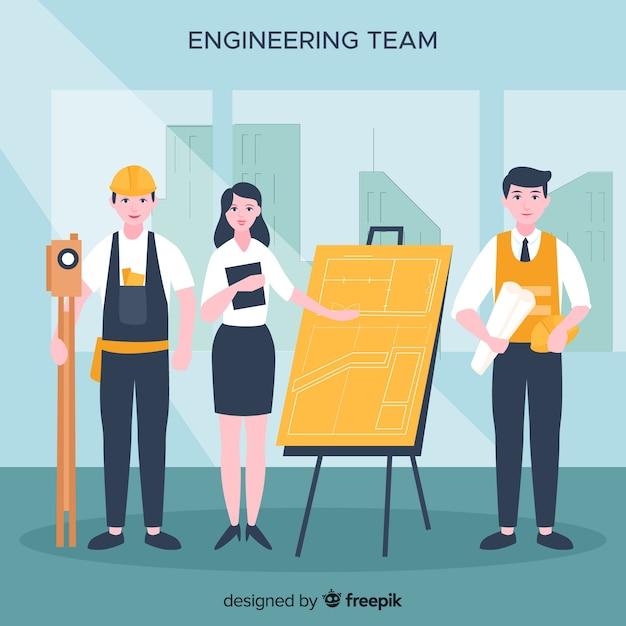 Fondo plano equipo de ingenieros vector gratuito