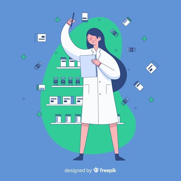 Fondo plano farmacéutica atendiendo clientes vector gratuito