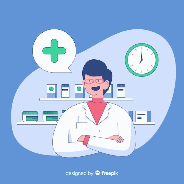 Fondo plano farmacéutico atendiendo clientes vector gratuito