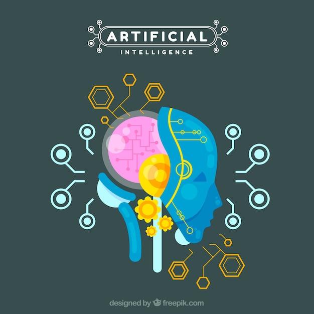 Fondo plano de inteligencia artificial vector gratuito