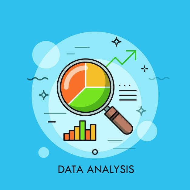 Fondo plano de línea delgada de vidrio de lupa de análisis de datos con gráfico circular Vector Premium