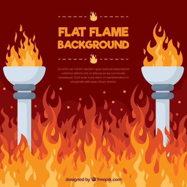 Fondo plano con llamas y antorchas vector gratuito