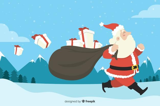Fondo plano de navidad con santa claus llevando regalos vector gratuito