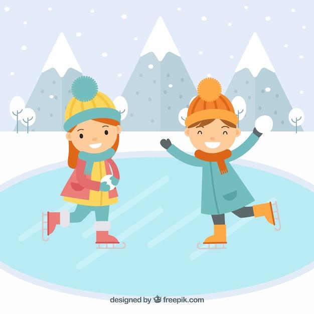 Fondo plano con niños patinando sobre hielo vector gratuito