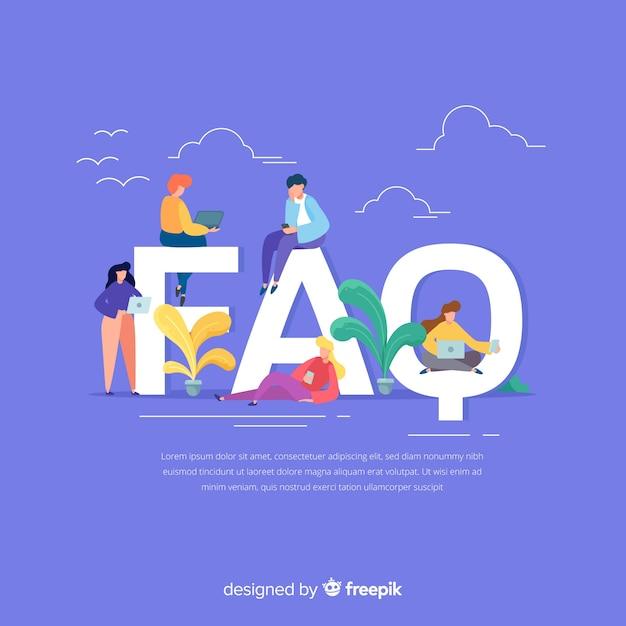 Fondo plano preguntas frecuentes vector gratuito