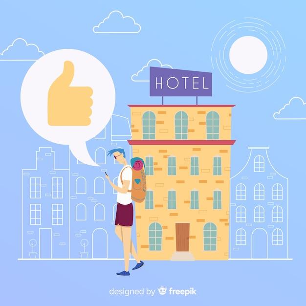 Fondo plano review hotel vector gratuito