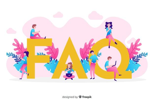 Fondo plano rosa concepto faq vector gratuito