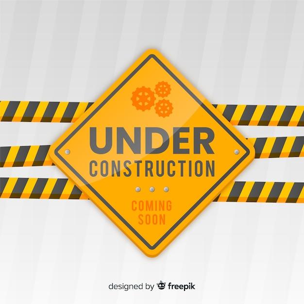Fondo plano señal en construcción vector gratuito