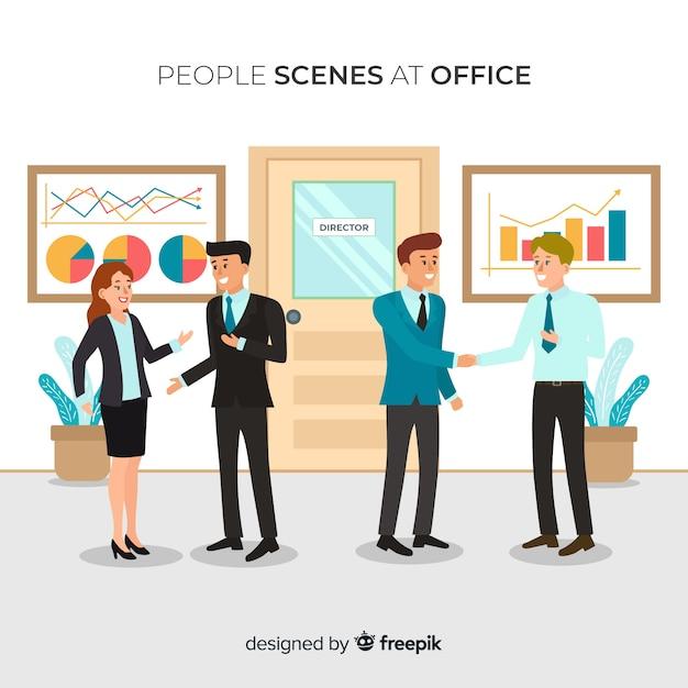 Fondo plano situación gente en la oficina vector gratuito
