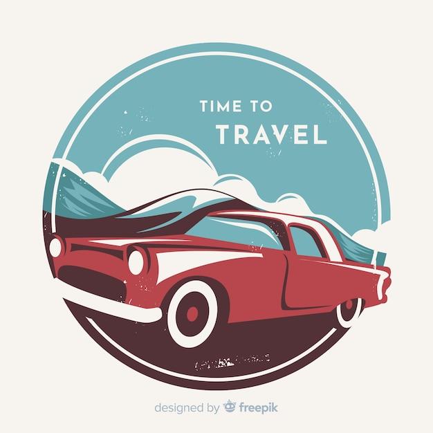 Fondo plano de viaje vintage vector gratuito