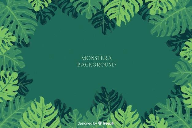 Fondo con planta monstera vector gratuito
