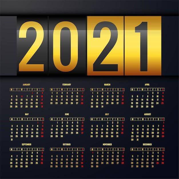 Fondo de plantilla de diseño de calendario dorado 2021 vector gratuito