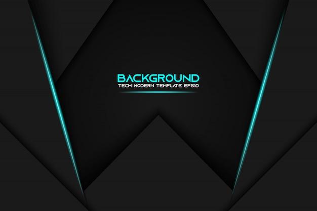 Fondo de plantilla de diseño de tecnología moderna de diseño de marco negro azul metálico abstracto Vector Premium