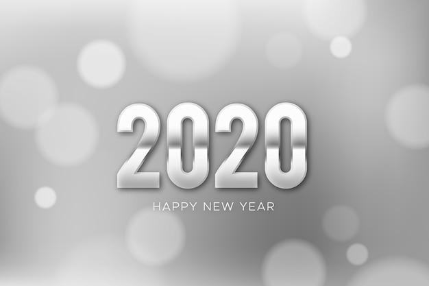 Fondo de plata año nuevo 2020 vector gratuito