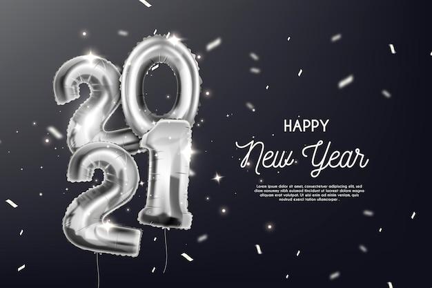 Fondo plata año nuevo 2021 vector gratuito