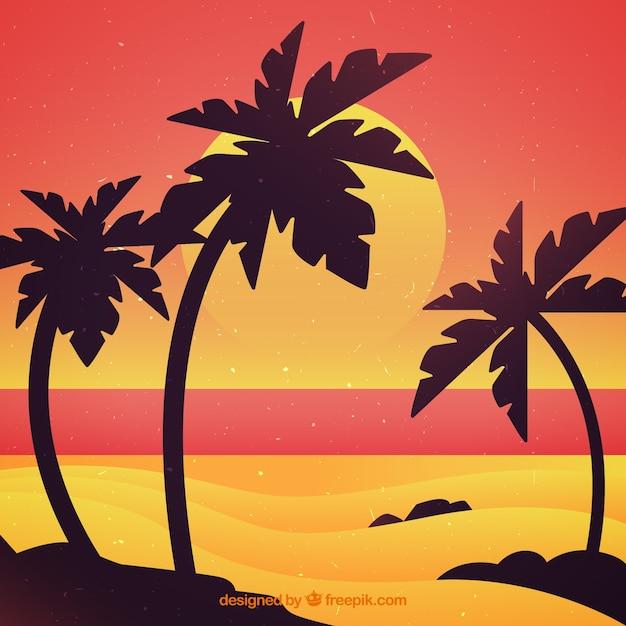 Fondo De Playa Al Atardecer Con Palmeras Descargar Vectores Gratis