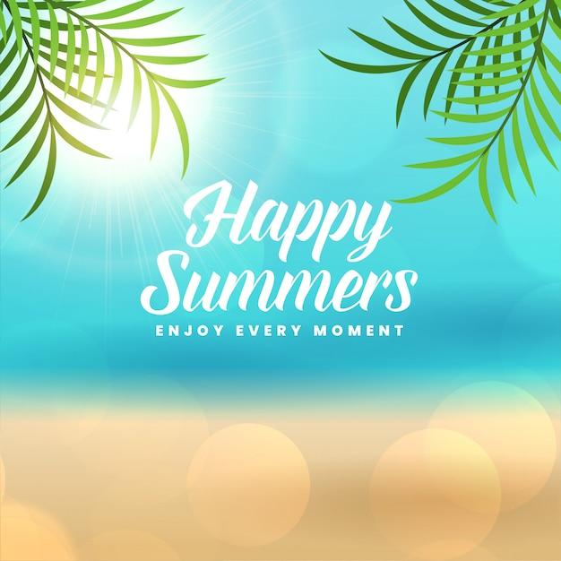 Fondo de playa feliz vacaciones de verano vector gratuito