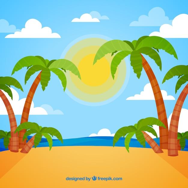 Fondo De Playa Tropical Con Palmeras Descargar Vectores Gratis