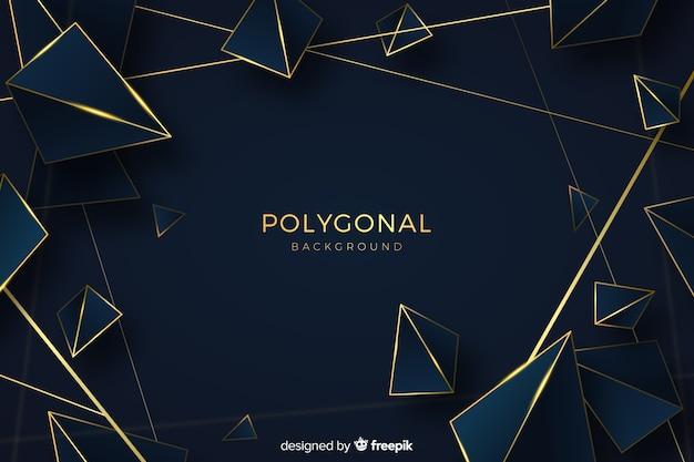 Fondo poligonal oscuro y dorado vector gratuito