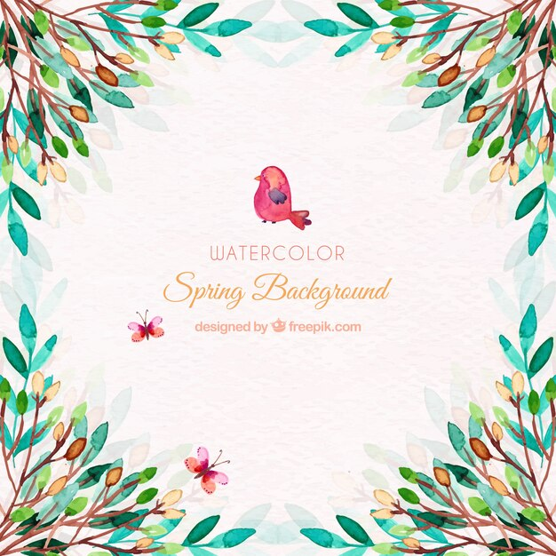Fondo de primavera de acuarela con hojas | Descargar Vectores gratis