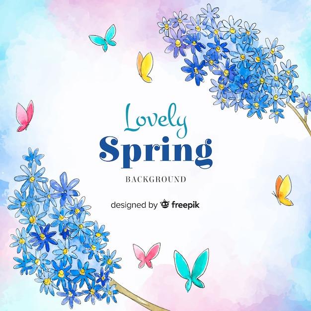 Fondo de primavera en acuarela vector gratuito