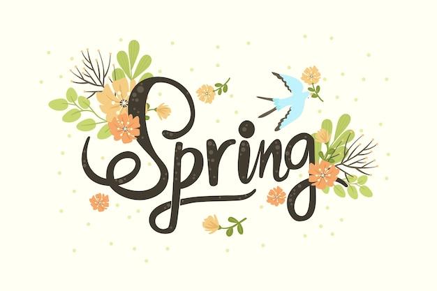Fondo de primavera dibujado a mano vector gratuito