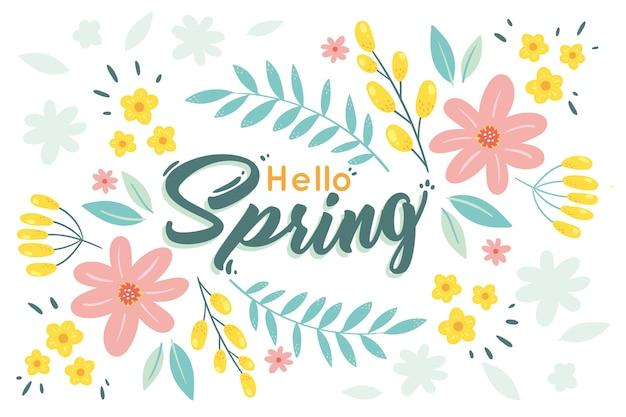 Fondo de primavera floral dibujado a mano vector gratuito