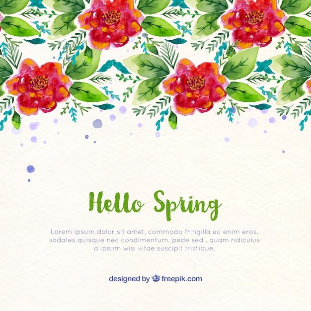 Fondo de primavera con flores rojas y hojas de acuarela | Descargar ...